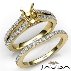 Prong Diamond Engagement Ring Oval Bridal Set 14k Gold Yellow Semi Mount  (1.1Ct. tw.)