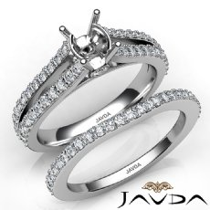 Prong Diamond Engagement Ring Oval Bridal Set 14K White Gold Semi Mount 1.1Ct