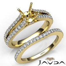 Prong Diamond Engagement Ring Princess Bridal Set 14k Gold Yellow Semi Mount  (1.1Ct. tw.)