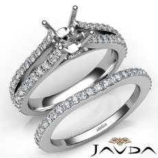 Prong Diamond Engagement Ring Princess Bridal Set 14K W Gold Semi Mount 1.1Ct
