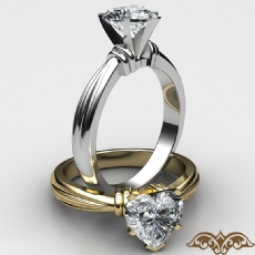 Ridged Solitaire Heart diamond  Ring in 14k Gold White