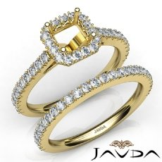 French V Cut Pave Diamond Engagement Ring Asscher Bridal Sets 14k Gold Yellow  (1.5Ct. tw.)