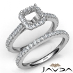 French V Cut Pave Diamond Engagement Ring Asscher Bridal Sets 14k White Gold 1.5Ct - javda.com