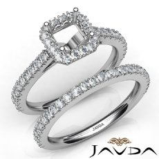 French V Cut Pave Diamond Engagement Ring Asscher Bridal Sets Platinum 950  (1.5Ct. tw.)