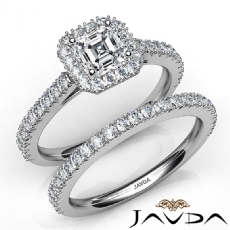 French V Cut Pave Bridal Set Asscher diamond engagement Ring in 14k Gold White