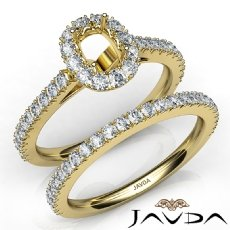 French V Cut Pave Diamond Engagement Ring Cushion Bridal Sets 14k Gold Yellow  (1.5Ct. tw.)