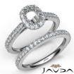 French V Cut Pave Diamond Engagement Ring Cushion Bridal Sets 14k White Gold 1.5Ct - javda.com