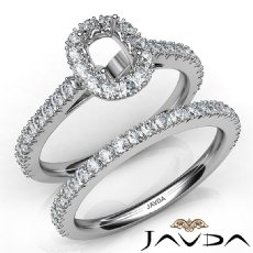 French V Cut Pave Diamond Engagement Ring Cushion Bridal Sets 14K W Gold 1.5Ct