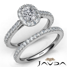 French V Cut Pave Bridal Cushion diamond engagement Ring in 14k Gold White