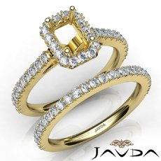 French V Cut Pave Diamond Engagement Ring Emerald Bridal Sets 14k Gold Yellow  (1.5Ct. tw.)