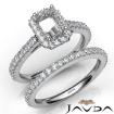 French V Cut Pave Diamond Engagement Ring Emerald Bridal Sets 14k White Gold 1.5Ct - javda.com
