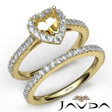 French V Cut Pave Diamond Engagement Ring Heart Bridal Set 14k Gold Yellow  (1.5Ct. tw.)