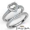 French V Cut Pave Diamond Engagement Ring Heart Bridal Set 14k White Gold 1.5Ct - javda.com