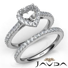 French V Cut Pave Diamond Engagement Ring Heart Bridal Set 14K White Gold 1.5Ct