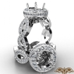 Round Cut Diamond Engagement Ring Pave Setting 14k White Gold Wedding Band 1.3Ct - javda.com