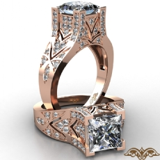 Filigree Design Micro Pave Set Princess diamond  Ring in 18k Rose Gold