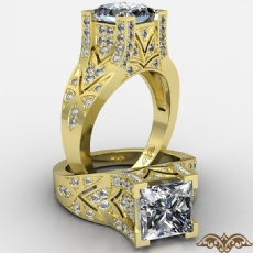 Filigree Design Micro Pave Set diamond Ring 14k Gold Yellow
