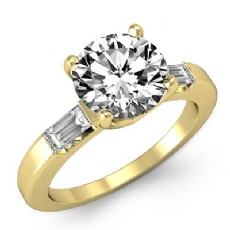Three Stone Baguette Bar Round diamond engagement Ring in 14k Gold Yellow