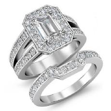 Split Shank Halo Bridal Set Emerald diamond engagement Ring in 14k Gold White