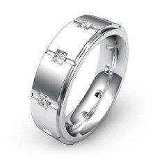 Polish Grooved Men's Princess Diamond Eternity Wedding Band 14k White Gold 0.6Ct