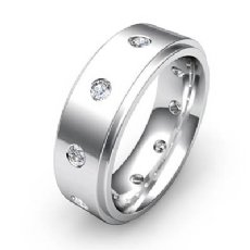 Polish Step Edge Men's Round Diamond Eternity Wedding Band 14k W Gold 0.60 Ct