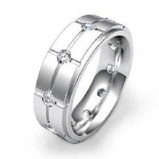 Cross Grooved Round Diamond Eternity Men's Wedding Band 14k White Gold 0.60 Ct