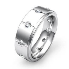 Vertical Cuts Round Diamond Eternity Men's Wedding Band 14k White Gold 0.60 Ct