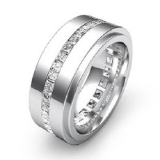 1.70 Ct Channel Princess Diamond Eternity Men's Wedding Band in 14k White Gold