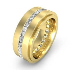 Channel Princess Diamond Eternity Men's Wedding Band in 14k Gold Yellow (1.7Ct. tw.)