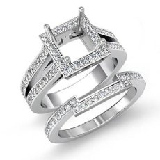 1.35Ct Women's Diamond Engagement Semi Mount & Wedding Band Ring Set 14K Wh Gold