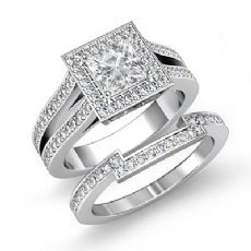 Split Shank Halo Bridal Set Princess diamond engagement Ring in 14k Gold White