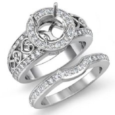 1.52Ct Vintage Diamond Engagement Ring Round Bridal Set 14K White Gold SemiMount