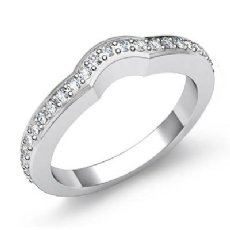 0.52Ct Antique Diamond Wedding Band 14k White Gold Matching Ring