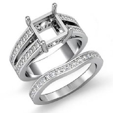 1.25Ct Diamond Engagement Ring Bridal Setting 14K White Gold Princess Semi Mount