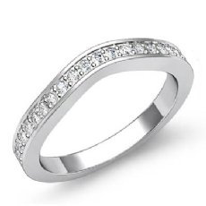 Women's Half Wedding Band 14k White Gold Classic Curve Pave Diamond Ring 0.51Ct