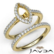 French V Cut Pave Diamond Engagement Ring Marquise Bridal Sets 14k Gold Yellow  (1.5Ct. tw.)