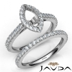 French V Cut Pave Diamond Engagement Ring Marquise Bridal Sets 14k White Gold 1.5Ct - javda.com