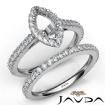 French V Cut Pave Diamond Engagement Ring Marquise Bridal Sets 14k White Gold 1.5Ct - javda.com