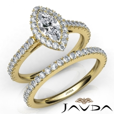 French V Cut Pave Bridal Set Marquise diamond engagement Ring in 14k Gold Yellow