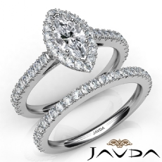 French V Cut Pave Bridal Set Marquise diamond engagement Ring in 14k Gold White