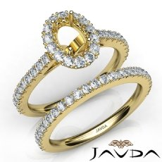 French V Cut Pave Diamond Engagement Ring Oval Bridal Sets 14k Gold Yellow  (1.5Ct. tw.)