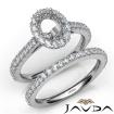 French V Cut Pave Diamond Engagement Ring Oval Bridal Sets 14k White Gold 1.5Ct - javda.com