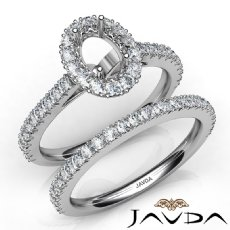 French V Cut Pave Diamond Engagement Ring Oval Bridal Sets 14K White Gold 1.5Ct