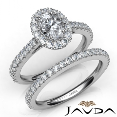 Halo Bridal Set French Pave Oval diamond engagement Ring in 14k Gold White