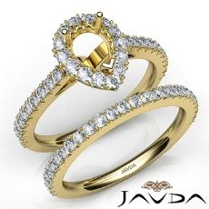 French V Cut Pave Diamond Engagement Ring Pear Bridal Sets 14k Gold Yellow  (1.5Ct. tw.)