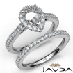 French V Cut Pave Diamond Engagement Ring Pear Bridal Sets 14k White Gold 1.5Ct - javda.com