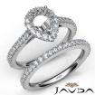 French V Cut Pave Diamond Engagement Ring Pear Bridal Sets 14k White Gold 1.5Ct - javda.com