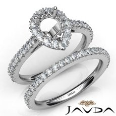 French V Cut Pave Diamond Engagement Ring Pear Bridal Sets 14K White Gold 1.5Ct