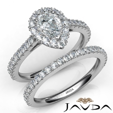 French Pave Bridal Set Halo Pear diamond engagement Ring in 14k Gold White