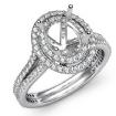 1.5Ct Diamond Vintage Engagement Halo Setting Ring Oval SemiMount 14k White Gold - javda.com